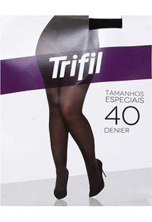 Meia Calça Trifil Plus Size Fio 40 Opaca Feminina - Feminino-Preto