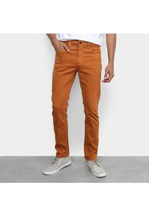 Calça Jeans Slim Calvin Klein Color Five Pockets Masculina - Masculino-Marrom Claro