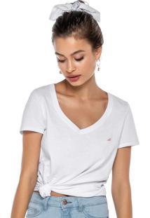 Blusa Branca Básica Com Bordado