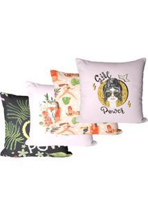 Kit Com 4 Capas Para Almofadas Girl Room 35X35Cm - Multicolorido - Dafiti
