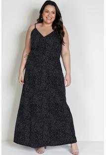 Vestido Longo Poá Preto Com Alças Plus Size