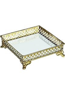 Bandeja Em Metal Com Espelho, Moas, Dourada, 5 X 17 X 17 Cm