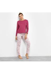 Pijama Censato Longo Floral Feminino - Feminino-Rosa+Pink