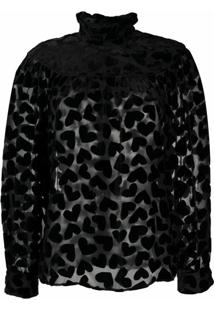 Saint Laurent Velvet Heart Blouse - Preto