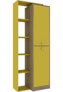 Estante Livreiro 2 Portas Avelã Hecol Móveis Amarelo