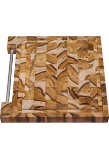 Tábua Para Churrasco Tramontina Quadrada Em Madeira Invertida Teca Com Acabamento Envernizado 30 X 30 Cm 10100050