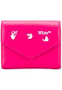 Off-White Carteira Dobrável Com Logo - Rosa