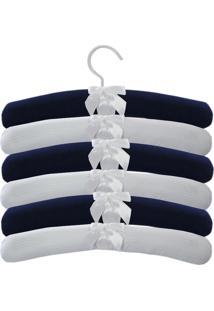 Kit 6Pçs Cabides Realeza Laura Baby Branco E Azul Marinho
