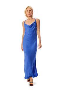 Vestido Longo Decote Degage Detalhe Costas Azul