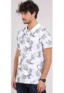 Polo Masculina Estampado Floral E Caveiras Em Piquet Manga Curta Branca