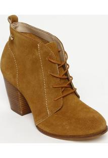 Ankle Boot Em Couro Com Pesponto- Marrom Claro- Saltjorge Bischoff