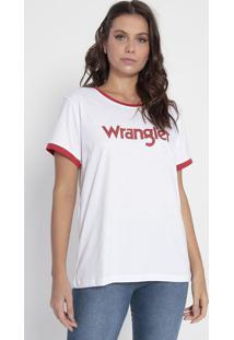 "Camiseta ""Wrangler®"" - Branca & Vermelhawrangler"