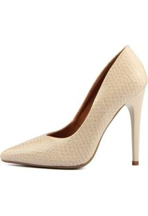 Scarpin Factor - Animal Print Snake Salto Alto - Off White