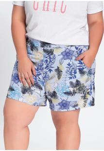 Short Floral Azul Com Bolsos Embutidos Plus Size