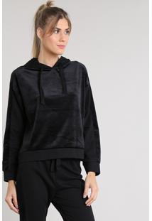 Blusão Feminino Esportivo Ace Em Moletom Com Plush E Capuz Preto