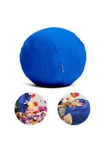 Puff Organizador Infantil Para Bichos De Pelúcia Azul Escuro