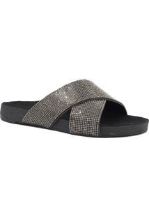 Rasteira Zariff Shoes Birken Strass Preto