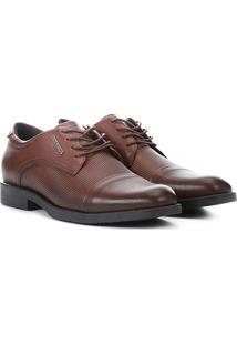 Sapato Social Couro West Coast Los Angeles Texturizado Masculino - Masculino-Caramelo