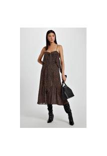 Vestido Midi Estampado Com Babado Est Lovedot Laranja - 40