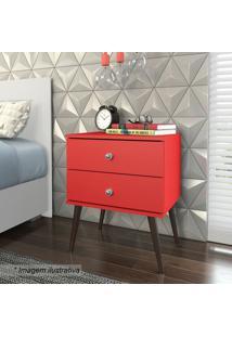 Criado Mudo Com Gaveta- Vermelho & Marrom- 60X50X38Cmovel Bento