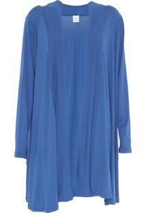 Maxi Cardigan Mercatto Liso Azul