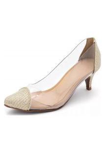 Sapato Scarpin Salto Baixo Em Glitter Dourado Com Transparência