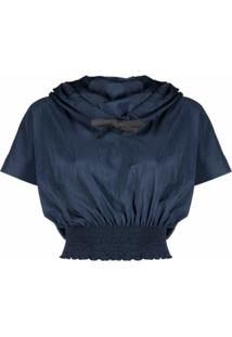 Kenzo Gathered Drawstring-Neck Top - Azul