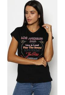 "Camiseta ""Los Angeles Jam""- Preta & Vermelhaclub Polo Collection"