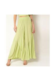 Calça Pantalona Elora Babado Feminina Verde