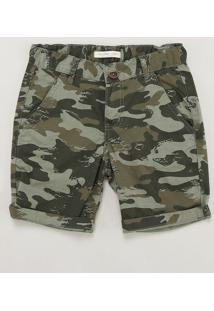 Bermuda De Sarja Infantil Estampada Camuflada Alfaiatada Verde Militar