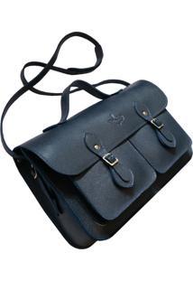 Bolsa Line Store Leather Satchel Pockets Média Couro Marinho - Kanui