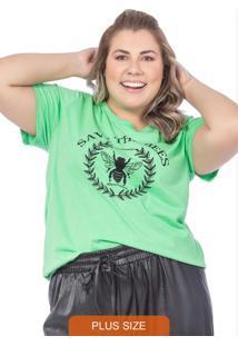 T-Shirt Feminina Estampa De Abelha Verde Claro