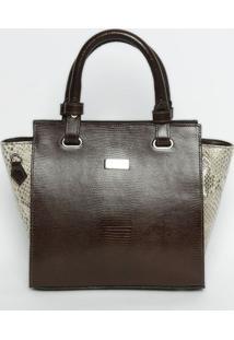 Bolsa Em Couro Texturizada- Marrom Escuro & Bege- 24Griffazzi