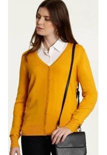 Cardigan Feminino Botões Marisa - Feminino-Amarelo