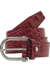 Cinto Corazzi Leather Deluxe Couro Croco Vermelho