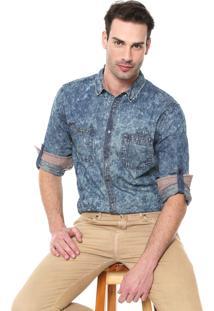 Camisa Jeans Dixie Reta Acid Azul