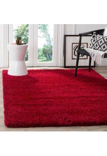 Tapete Para Sala E Quarto Peludo Luxo Casa Dona 100X150Cm Vermelho Nobre