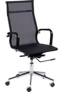 Cadeira Office Eames Em Tela- Preta & Prateada- 112,Or Design