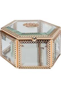 Porta-Joias Lyor Classic Com Vidro E Armação Em Zamac - Dourado/Transparente