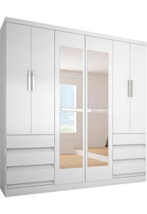 Guarda-Roupa Casal Com Espelho 6 Portas E 6 Gavetas 4177-Araplac - Branco