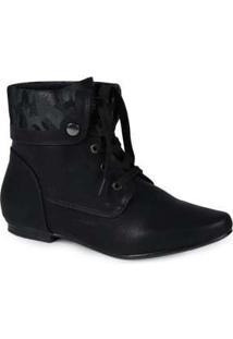 Ankle Boots Feminina Mooncity Dobrada Preto