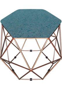 Puff D'Rossi Decorativo Aramado Geométrico Hexágono A58 Base Dourada