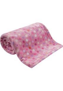 Cobertor Bebê Microfibra Flannel Camesa Rosa Poa