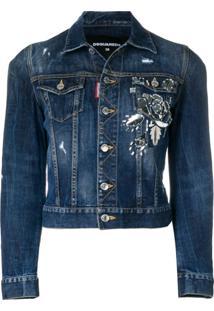 Dsquared2 Jaqueta Jeans Com Aplicação - Azul