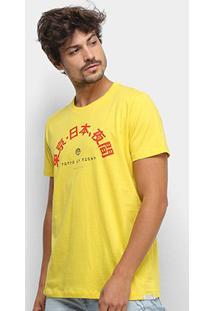 Camiseta Colcci Estampada Manga Curta Masculina - Masculino-Amarelo