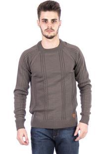 Blusa Tricot Malhas Carlan Trançado Masculina - Masculino-Cinza
