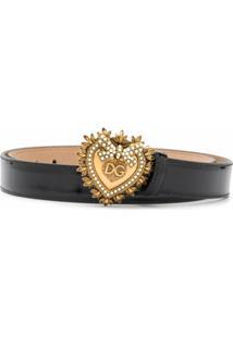 Dolce & Gabbana Cinto Devotion De Couro - Preto