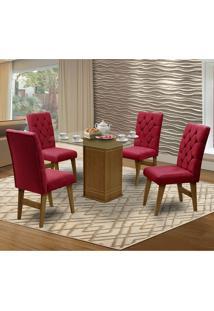 Mesa Para Sala De Jantar Saint Louis Com 4 Cadeiras – Dobuê Movelaria - Mell / Vinho