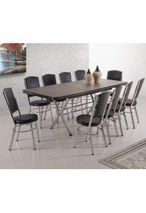 Conjunto Sala De Jantar Mesa Extensível E 10 Cadeiras Ávila Móveis Brastubo Preto