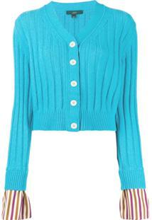 Jejia Cardigan Com Punhos Listrados - Azul